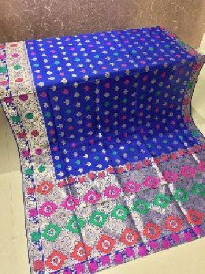 Light Blue Banarasi Silk Meenakari Sarees 02