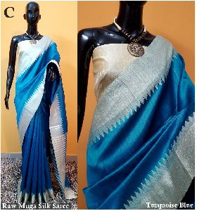 Light Blue Plain Raw Silk Sarees