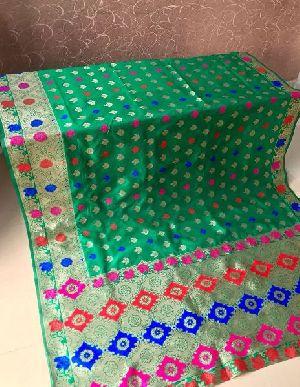 Light Green Banarasi Silk Meenakari Sarees 01