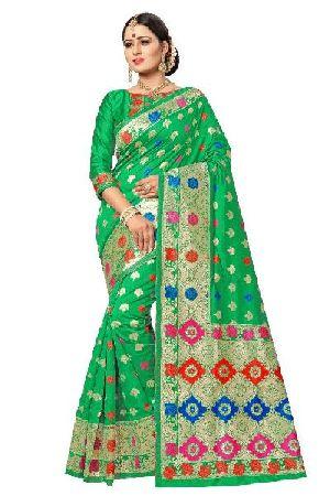 Light Green Banarasi Silk Meenakari Sarees 02