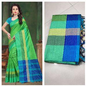 Light Green Raw Silk Saree with Contrast Blouse