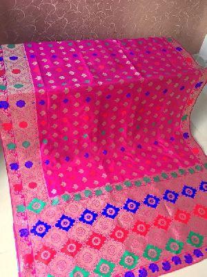 Light Pink Banarasi Silk Meenakari Sarees 02