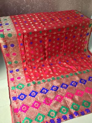 Light Red Banarasi Silk Meenakari Sarees 02