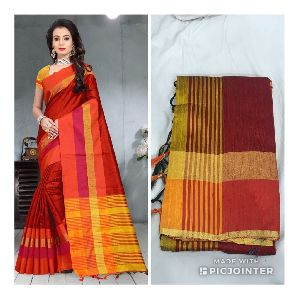 Maroon Raw Silk Saree with Contrast Blouse