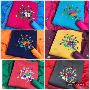 Multicolor Top Modar Silk with Santoon Inner Dress Material