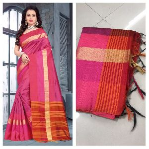 Pink Raw Silk Saree with Contrast Blouse