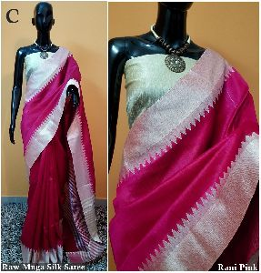 Pink Plain Raw Silk Sarees