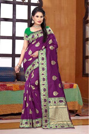 Purple Printed Meenakari Banarasi Sarees 01