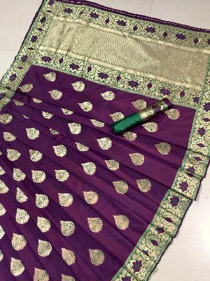 Purple Printed Meenakari Banarasi Sarees 02