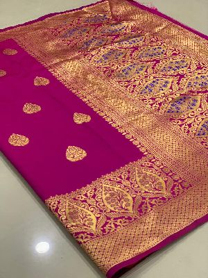 Purple Traditional Banarasi Silk Sarees 01