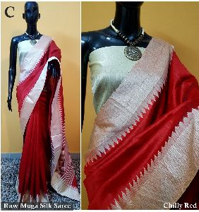 Red Plain Raw Silk Sarees