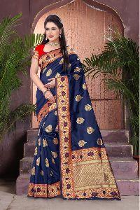 Royal Blue Printed Meenakari Banarasi Sarees