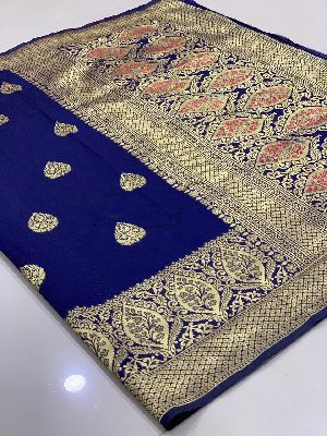 Royal Blue Traditional Banarasi Silk Sarees 01