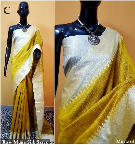 Yellow Plain Raw Silk Sarees