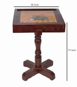 Indian Hand Painted Wooden Side Tables