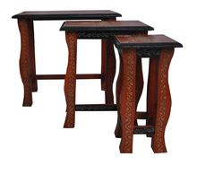 Rajasthani Home Decorative Wooden Handmade Painted Side Table Set of 3 pieces