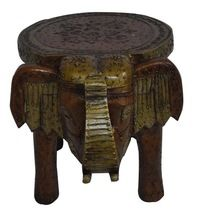 Wooden Hand Carved Elephant Stool Brown Color