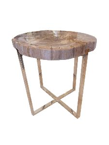 ACT12-PETRIFIED WOOD END ACCENT TABLE