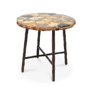 ACT20-PETRIFIED WOOD ROUND ACCENT TABLE