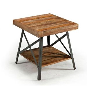 ACT21-INDUSTRIAL METAL AND WOODEN RUSTIC ACCENT TABLE