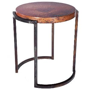 ACT26-ROUND WROUGHT IRON ACCENT TABLE