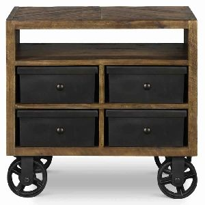 INDUSTRIAL BED SIDE TABLE ON WHEELS