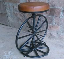 Cycle Wheel Bar Stools With Leather Seat