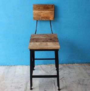 Mango Wood Industrial Bar Chair