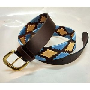 Unisex Western Leather Handmade Thread Polo Belt