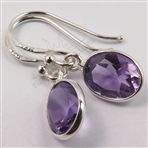 925 Solid Sterling Silver AMETHYST Gemstones Cute Earrings