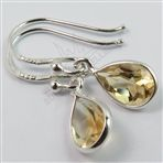 925 Solid Sterling Silver Real CITRINE Pear Gemstones 925 Solid Sterling Silver Earrings