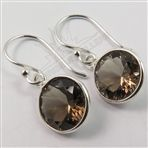925 Sterling Silver Genuine SMOKY QUARTZ Gemstone Amazing Earrings Gift FINE EDH