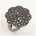 925 Sterling Silver Pave Women's Jewelry Ring Any Size Natural BLACK SPINEL Gems