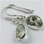 Natural GREEN AMETHYST Gems Pretty Earrings 925 Solid Sterling Silver