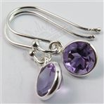 Small Earrings 2.5 CM Natural AMETHYST Round Gem stones 925 Sterling Silver