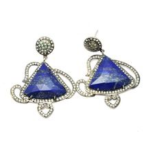 925 Sterling Silver With Lapis Stone FIne Silver Earring