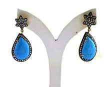 925 Sky Color Turquoise Stone Silver Earring
