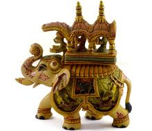 Hand painted Resin Elephant with riders statue