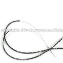 Natural Round Shape faceted Black Diamond Bead