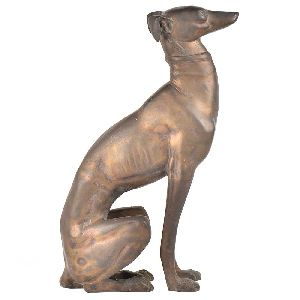Bronze Figure of Sitting Grey house Dog