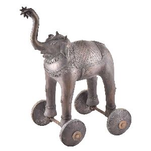 Handmade Brass Elephant Statue On Rolling Wheels