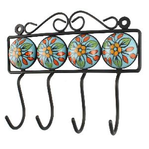 Multicolor Ceramic Flower Tile Hook