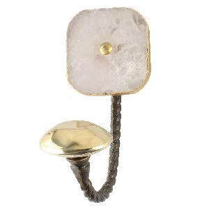 Pink Rose Square Quartz Stone Wall Hook in Antique Fitting