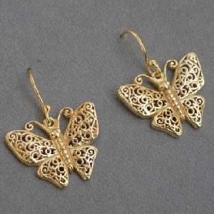 Butterfly Earring 925 Sterling Silver Gold Plated Earring