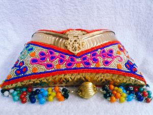 8 Inch Multi Aari Work Clutch Purse