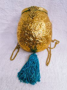 Brass Embossed Pot Purse