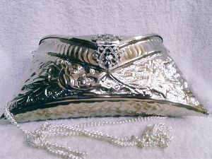 Brass Embossed Silver Purse