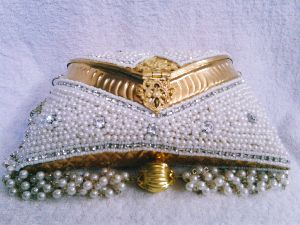 White Multi Aari Moti Clutch Purse