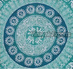 Mandala Green Elephant Printed Tapestry