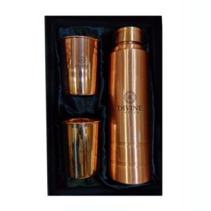 King Copper Water Bottle with 2 Glass
